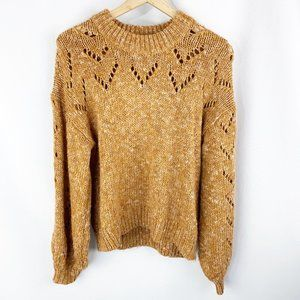 Madewell Pointelle Bubble Sleeve Crew Pullover Sweater Small